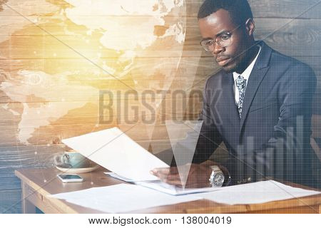 Double Exposure Of Young Successful African American Entrepreneur In Formal Wear, Filling In Financi