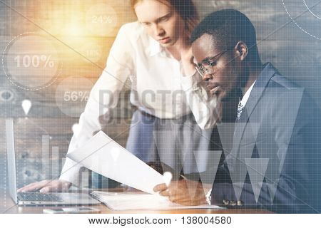Visual Effects. African Businessman Wearing Formal Suit And Glasses, Sitting At The Wooden Table At