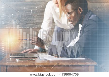 Corporate Workers Using Brainstorm To Find A New Business Solution: Young African Man Pointing At Th