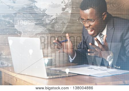 What Is Wrong With This Computer? Double Exposure Of Furious African Corporate Worker In Glasses Fil