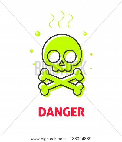 Chemical caution label, waste danger safety sign vector symbol, toxic trash hazard ribbon, warning, alert flat icon badge with skull crossbones, risk tag, logo concept illustration isolated on white