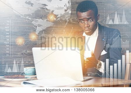 Worldwide Connection Interface. African Office Worker Using Laptop With Copy Space For Your Informat