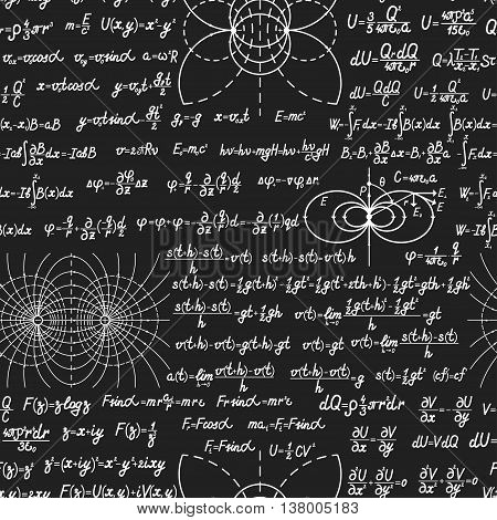 Physical Vector Seamless Pattern On Blackboard