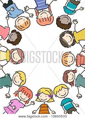Illustration of Kids Lying Close Together forming a frame