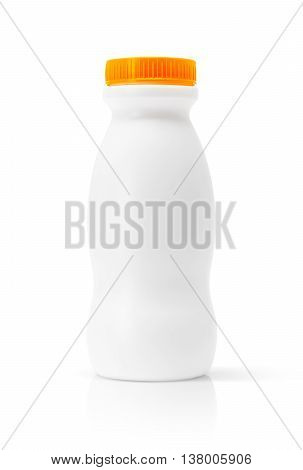 blank packaging beverage plastic bottle with orange cap isolated on white background with clipping path