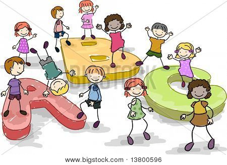 Illustration of Kids Playing with Giant Letters of the Alphabet