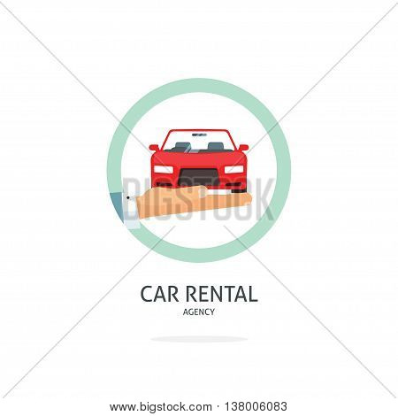 Rent a car agency vector logo template, hand holding auto symbol, icon flat ribbon, rental badge sticker, automobile dealer sale label concept, modern illustration design, sign isolated on white tag