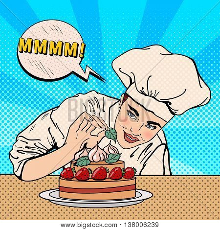 Attractive Female Chef Decorating Delicious Cake with Strawberries. Pop Art. Vector illustration