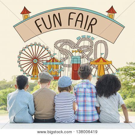 Fun Fair Amusement Enjoyment Happiness Joyful Concept