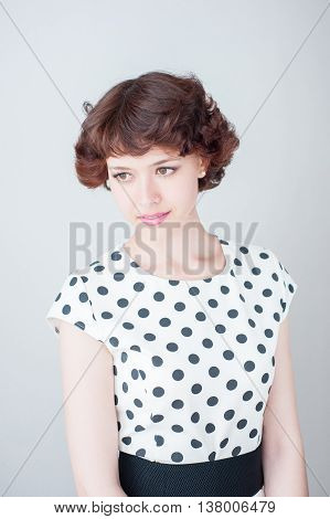 Portrait Of A Beautiful Young Girl On A White Background