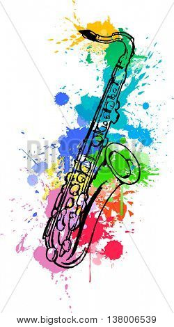 Jazz hand drawn saxophone. colored with abstract paint splats in white background