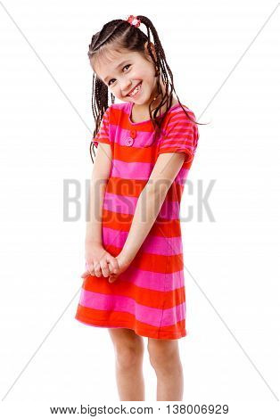 Pretty little girl in pink dress, isolated on white