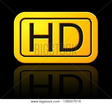 Yellow Hd Label. Widescreen Tv Sign Icon