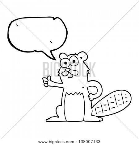 freehand drawn speech bubble cartoon beaver