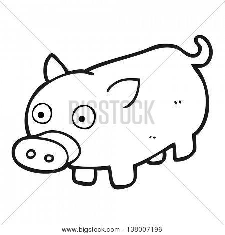 freehand drawn black and white cartoon piglet