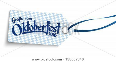 Hangtag With Text Greetings From Oktoberfest 2016