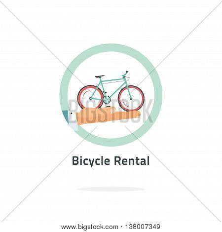 Bycicle rent vector badge, bicycle rental icon flat with hand holding bike logo, rental agency symbol concept, shop label, travel tours sticker illustration isolated on white, modern emblem design