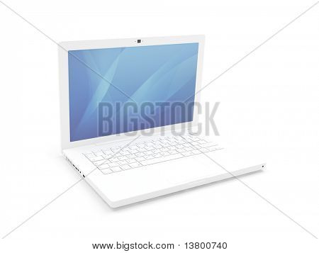 Isolated white laptop