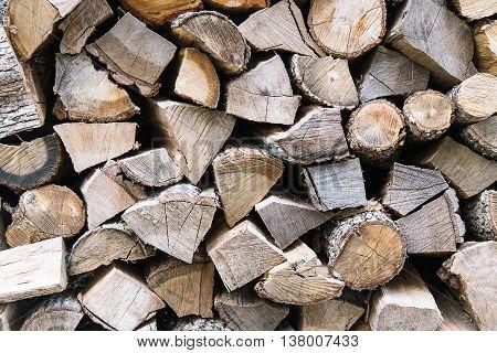pile of chopped wood slide firewood close-up