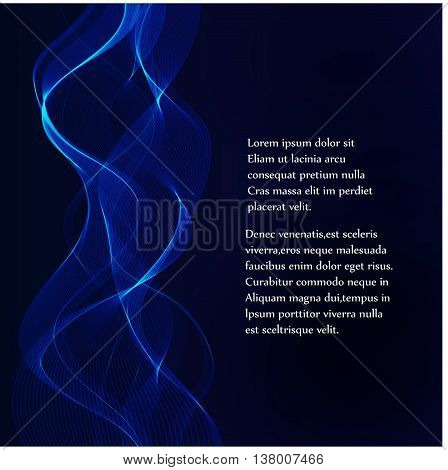 Ray light background blue and purple curve line technology digital lighting art background for text and message design vector