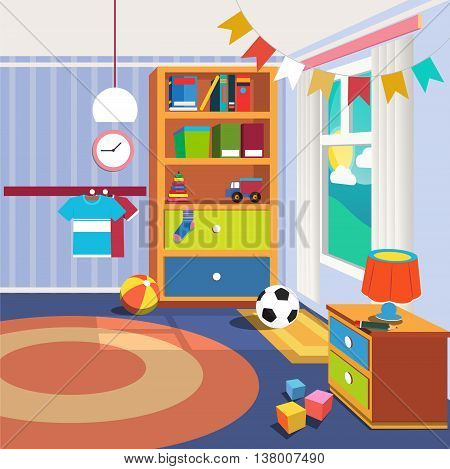 Children Bedroom Interior with Furniture and Toys. Vector illustration