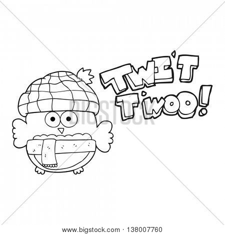 freehand drawn black and white cartoon cute owl saying twit twoo