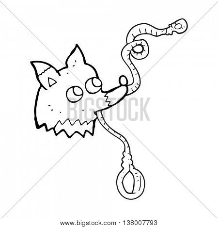 freehand drawn black and white cartoon dog with leash