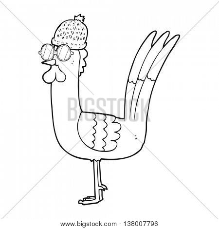freehand drawn black and white cartoon chicken wearing spectacles and hat