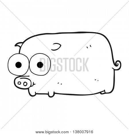 freehand drawn black and white cartoon piglet with big pretty eyes