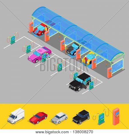 Isometric Hand Car Wash with Vacuum Cleaners. Driver Washing Car. Vector illustration
