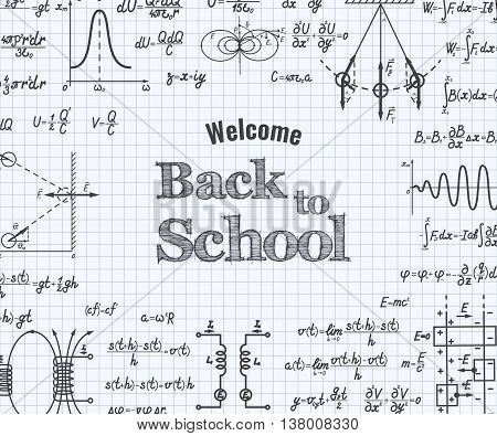 Welcome Back To School With Formula In Notebook.