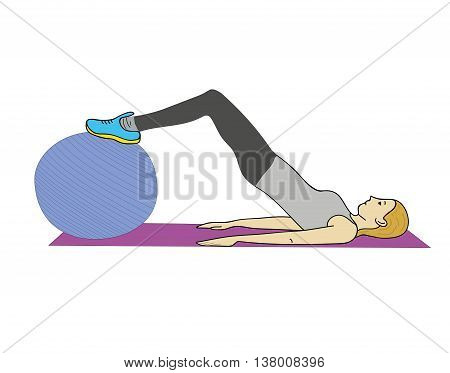 young woman doing exercises with the ball (fitness ball). vector illustration.
