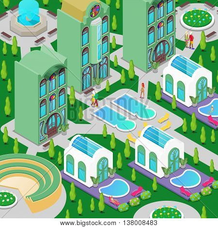 Isometric Luxury Hotel Building with Swimming Pool, Fountain and Green Garden. Vector illustration