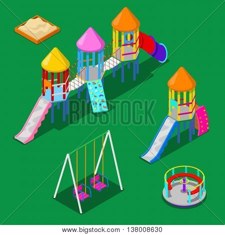 Isometric Children Playground Elements - Sweengs, Carousel, Slide and Sandbox. Vector illustration