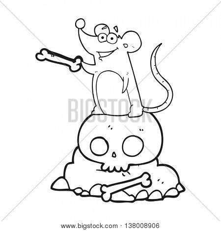 freehand drawn black and white cartoon graveyard rat