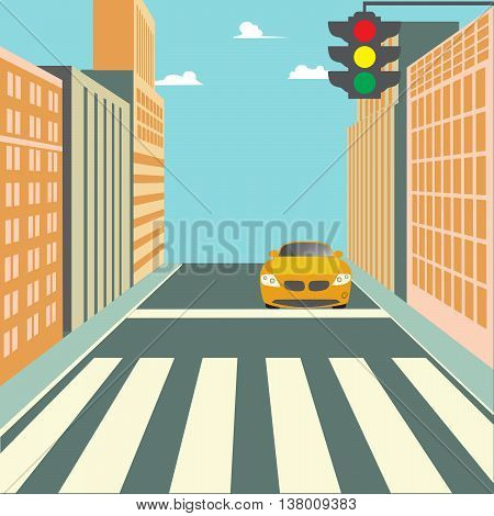 City Street with Buildings, Traffic Light, Crosswalk and Car. Vector background