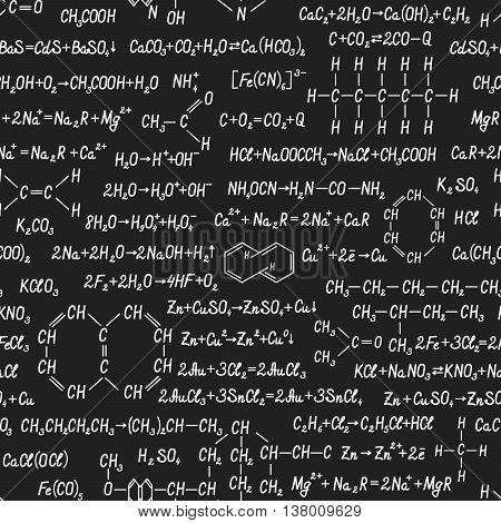 Chemistry Vector Seamless Pattern On Blackboard