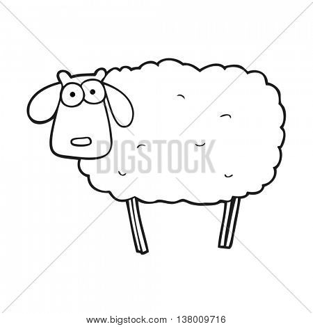 freehand drawn black and white cartoon muddy sheep