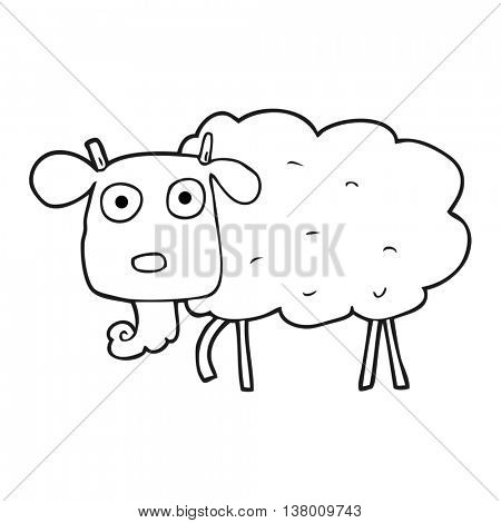 freehand drawn black and white cartoon muddy goat