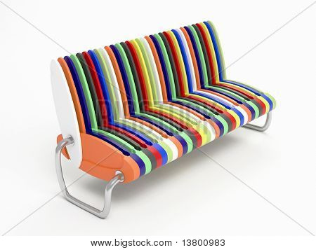 3d Render Of Modern  Sofa Isolated Over White Background