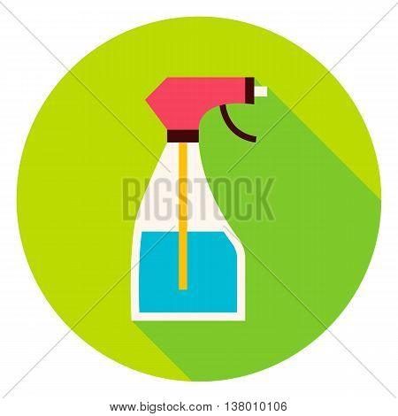 Water Spray Tool Circle Icon. Flat Design Vector Illustration with Long Shadow. Spray Bottle Gardening Symbol.