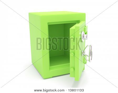 Green 3d Safe isolated on white bacground