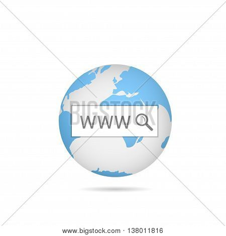 WWW. Blue world map. Blue earth. Internet concept Quick search