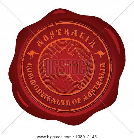 Wax seal with the word Australia, vector illustration