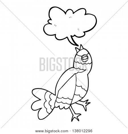 freehand drawn black and white cartoon bird singing