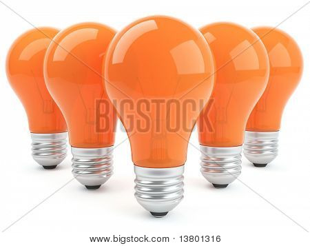 3d 5 orange lamps isolated on the white background