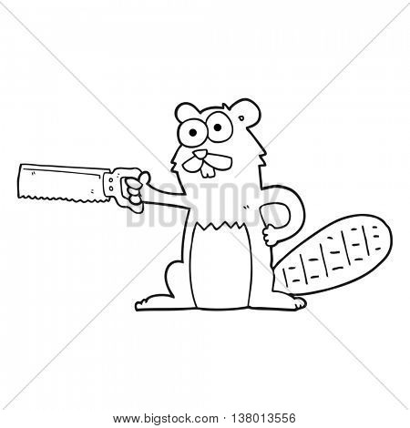 freehand drawn black and white cartoon beaver with saw