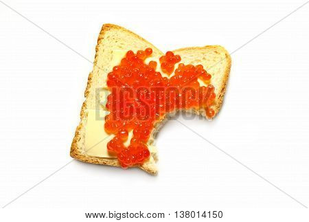 Freshly made red caviar and butter sandwich with bread that has been bitten on a white background