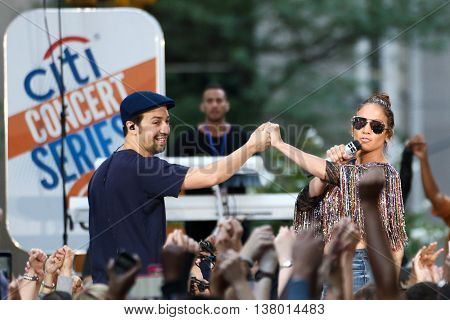 NEW YORK-JULY 11: Lin-Manuel Miranda (L) and Jennifer Lopez perform onstage at NBC's Today Show at Rockefeller Plaza on July 11, 2016 in New York City.