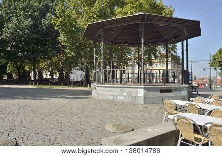 PORTO, PORTUGAL - AUGUST 10, 2016: Gazebo in gardens of the city od Porto Portugal.